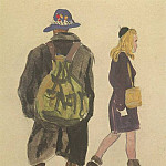 Alexander Deyneka - 1947 from the Viennese sketches. B., gouache, wc. 19, 8x14, 5 MHS
