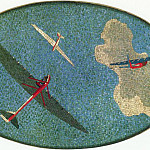 1938 mosaic art. m Mayakovsky. 17 gliders in the sky., Alexander Deyneka