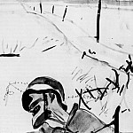 1934 dead soldiers in the background of broken fence. Fig. to the book. Henri Barbusse in flames. B., Br. , Ink. 27, 2h35 Kursk, Alexander Deyneka