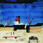 1929-30 port with ships. Paper, pencil, gouache, ink. Kursk, Alexander Deyneka