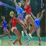 1962 Basketball. Oil on canvas. 100x75, Alexander Deyneka