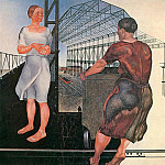 Alexander Deyneka - 1926 On the construction of new plants. H., M. 209h200 TG