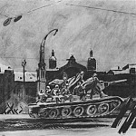 1946-47 Tanks go to the front. Belorussian Station. B., gouache, temp. , Coal. 63h75 TG, Alexander Deyneka