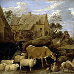 Teniers, David the Younger. Landscape with shepherd and flock, part 11 Hermitage