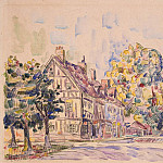 Signac, Paul. Street with half-timbered house in Normandy, part 11 Hermitage