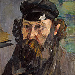 Cezanne, Paul. Self-Portrait in cap, part 11 Hermitage