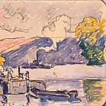 Signac, Paul. Two barges and a tug boat in Samoa, part 11 Hermitage