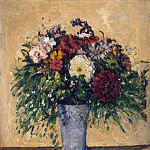 Cezanne, Paul. Flowers in blue vase, Paul Cezanne