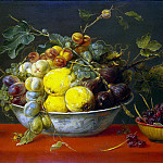 Snyders, Frans. Fruit in a bowl on a red tablecloth, Frans Snyders