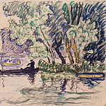 Signac, Paul. Fisherman in a boat on the Seine, part 11 Hermitage