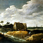 Teniers, David the Younger. Landscape with a maid at the well, part 11 Hermitage