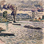 part 11 Hermitage - Signac, Paul. Suspension bridge or barges and tugs on the river