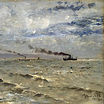 Stevens, Alfred. The sea with ships, Alfred Stevens
