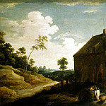 Teniers, David the Younger. Landscape with peasants before the pub, David II Teniers