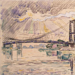 Signac, Paul. Suspension bridge in Andelys, part 11 Hermitage