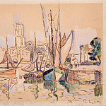Signac, Paul. Sailing ships berthed in Honfleur, part 11 Hermitage