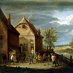 Teniers David Younger. Peasants, bowling, David II Teniers