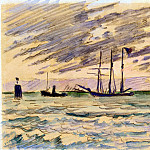 Signac, Paul. Harbour with sailing ships, tugs and barges, part 11 Hermitage
