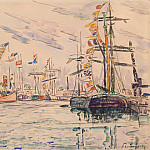 Signac, Paul. Sailing with festive flags on the masts at the quay in St. Malo, part 11 Hermitage