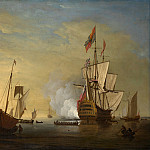 Metropolitan Museum: part 3 - Peter Monamy - Harbor Scene: An English Ship with Sails Loosened Firing a Gun