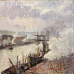 Steamboats in the Port of Rouen, Camille Pissarro