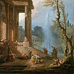 Hubert Robert – The Portico of a Country Mansion, Metropolitan Museum: part 3
