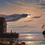 Thomas Fearnley – Moonlit Harbor in Southern Italy, Metropolitan Museum: part 3