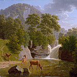 Johann Jakob Biedermann – Mountain Landscape with Deer at a River, Metropolitan Museum: part 3