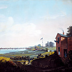 Metropolitan Museum: part 3 - Nicolino Calyo , Naples 1799–1884 New York City) - View of the City of New York and the Marine Hospital Taken from Wallabout