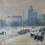 Childe Hassam – Winter in Union Square, Metropolitan Museum: part 3