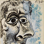 1969 TИte dhomme 4, Pablo Picasso (1881-1973) Period of creation: 1962-1973