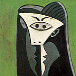 1962 TИte de femme sur fond vert, Pablo Picasso (1881-1973) Period of creation: 1962-1973