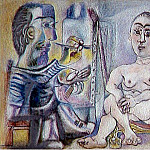 Pablo Picasso (1881-1973) Period of creation: 1962-1973 - 1963 Le peintre et son modКle 6