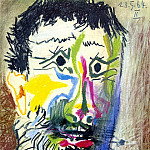 Pablo Picasso (1881-1973) Period of creation: 1962-1973 - 1964 TИte dhomme barbu Е la cigarette II