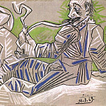 1969 Homme Е la pipe et nu assis, Pablo Picasso (1881-1973) Period of creation: 1962-1973
