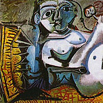 Pablo Picasso (1881-1973) Period of creation: 1962-1973 - 1964 Femme nue couchВe jouant avec un chat 4