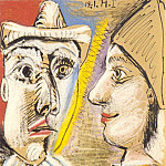 1971 Pierrot et arlequin de profil, Pablo Picasso (1881-1973) Period of creation: 1962-1973