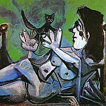 Pablo Picasso (1881-1973) Period of creation: 1962-1973 - 1964 Femme nue couchВe jouant avec un chat 3