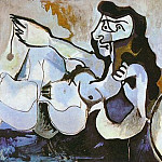 Pablo Picasso (1881-1973) Period of creation: 1962-1973 - 1964 Femme nue couchВe jouant avec un chat