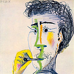 Pablo Picasso (1881-1973) Period of creation: 1962-1973 - 1964 TИte dhomme barbu Е la cigarette III