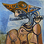 Pablo Picasso (1881-1973) Period of creation: 1962-1973 - 1971 La flЦtiste [Homme assis jouant de la flЦte]