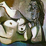 Pablo Picasso (1881-1973) Period of creation: 1962-1973 - 1964 Femme nue couchВe jouant avec un chat 2