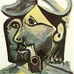 1971 TИte dhomme Е la pipe, Pablo Picasso (1881-1973) Period of creation: 1962-1973
