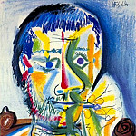Pablo Picasso (1881-1973) Period of creation: 1962-1973 - 1964 Buste dhomme Е la cigarette II
