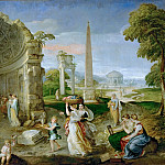 Lambert Sustris -- Landscape with antique ruins and bathing women, Kunsthistorisches Museum