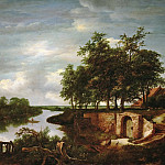 Jacob van Ruisdael -- River Landscape with Entrance to a Cellar, Kunsthistorisches Museum