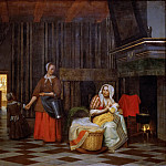 Pieter de Hooch -- Interior with a Mother Feeding a Child and a Maid, Kunsthistorisches Museum