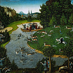 Lucas Cranach the elder -- Stag hunt of Elector Frederick the Wise of Saxony, Emperor Maximilian I, and Elector Johann the Steady, Kunsthistorisches Museum