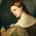 Kunsthistorisches Museum - Jacopo Palma, il vecchio -- Portrait of a young woman in profile