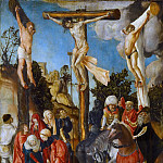Kunsthistorisches Museum - CRANACH, Lucas the Elder (b. 1472, Kronach, d. 1553, Weimar) The Crucifixion 1501 Wood, 58 x 45 cm Kunsthistorisches Museum, Vienna This is the earliest known painting of Cranach, executed for the Schottenkirche in Vienna. Cranach's style was fully formed and underwent little development after about 1515, and the highly finished, mass-produced paintings after that date suffer by comparison with the more individual works he painted in early adulthood. --